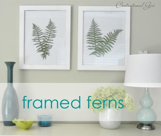 botanical fern art on wall label blue label