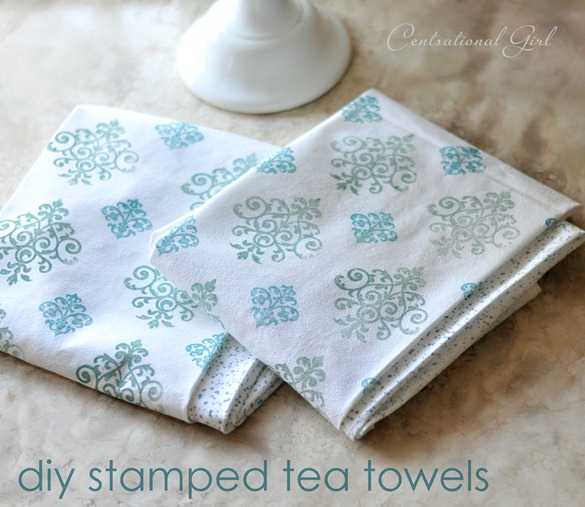 diy stamped tea towels cg