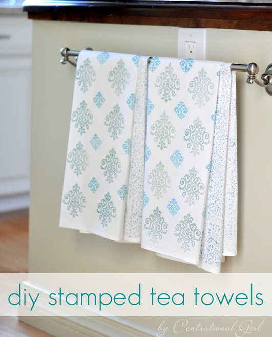diy stamped tea towels