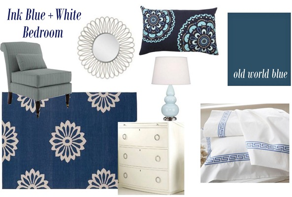 ink blue and white bedroom