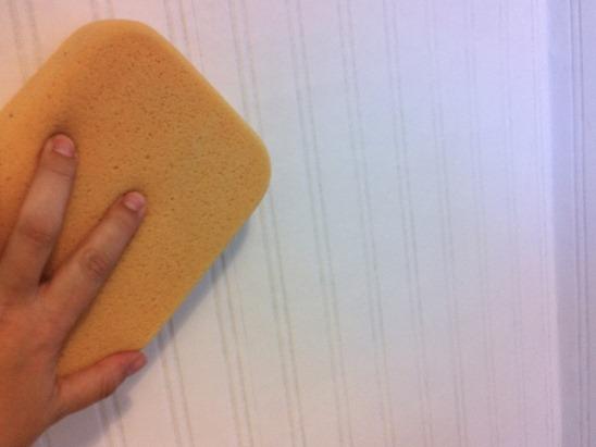 sponge beadboard wallpaper on wall