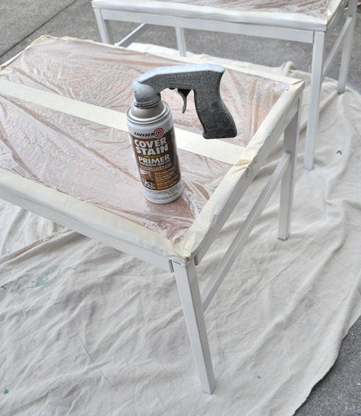 plastic wrap and spray primer