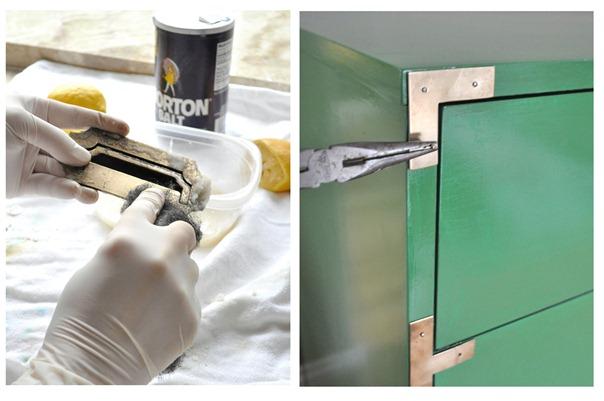 polish brass reattach hardware