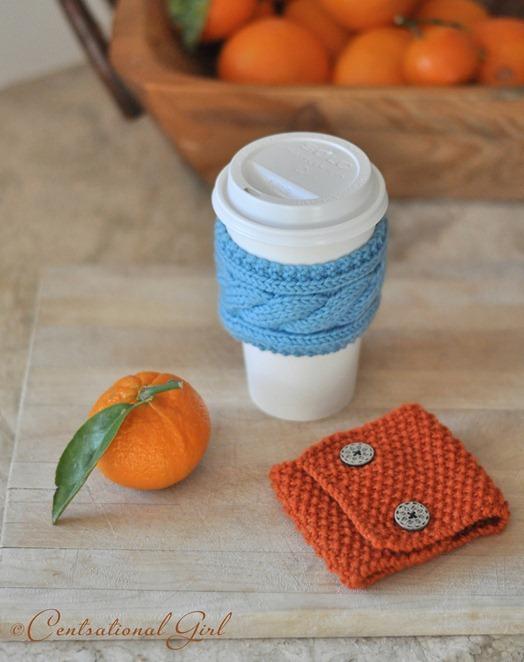 blue and orange coffee cozies