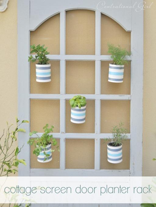 cottage screen door planter rack cg