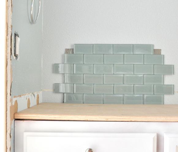 offset blue glass tile