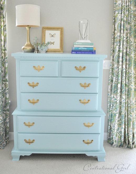 turquoise blue bureau dresser