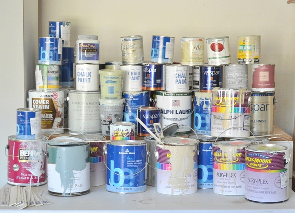 Image result for messy paint storage gallons in my garage