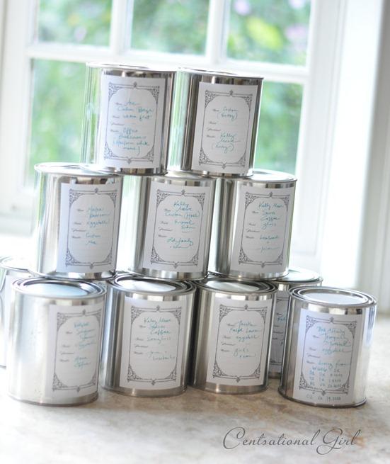labeled quarts of paint