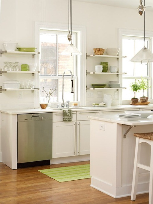 open shelving modern kitchen bhg