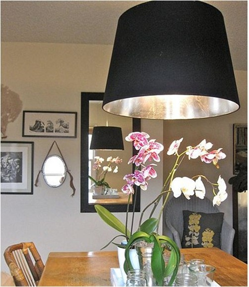 silver leafed lampshade design sponge