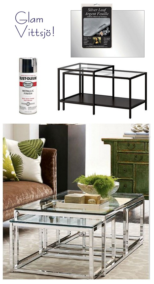 Spray Paint The Base Shiny Chrome Or Silver Leaf The Frame For A Sophisticated Take Made To Look Like Horchow S Coffee Tables Glam Vittsjo