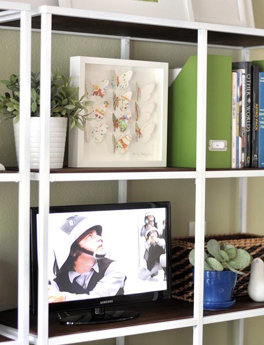 smaller tv on shelf