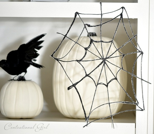 black glitter spider web