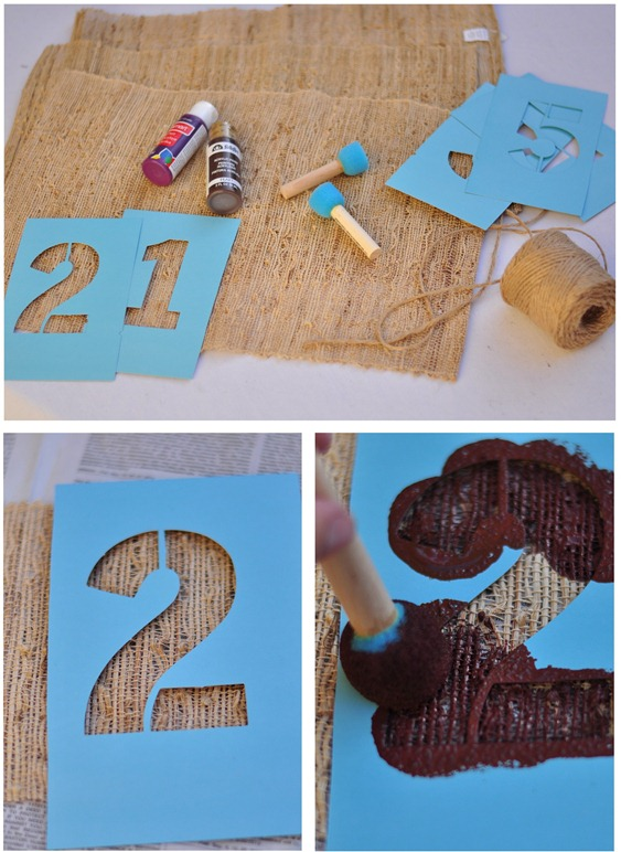 stenciled wine bottle covers