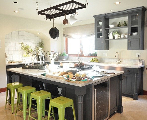 gray painted cabinets green stools