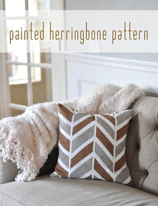 diy painted herringbone pattern