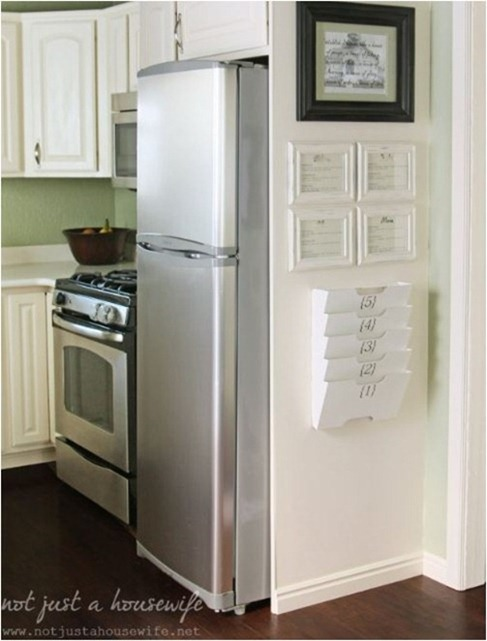 framed fridge kitchen command center notjustahousewife