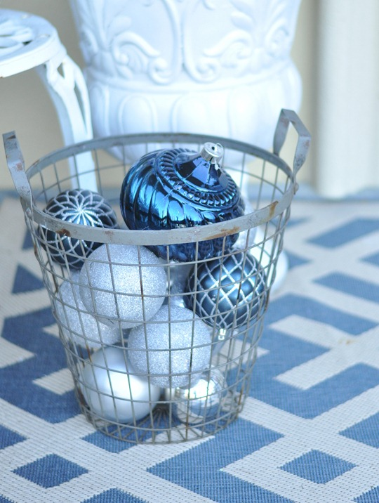blue ornaments in basket