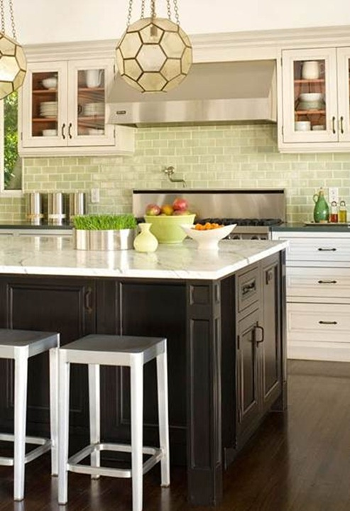 green subway kitchen backsplash