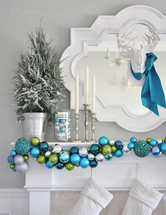 ornament garland on mantel