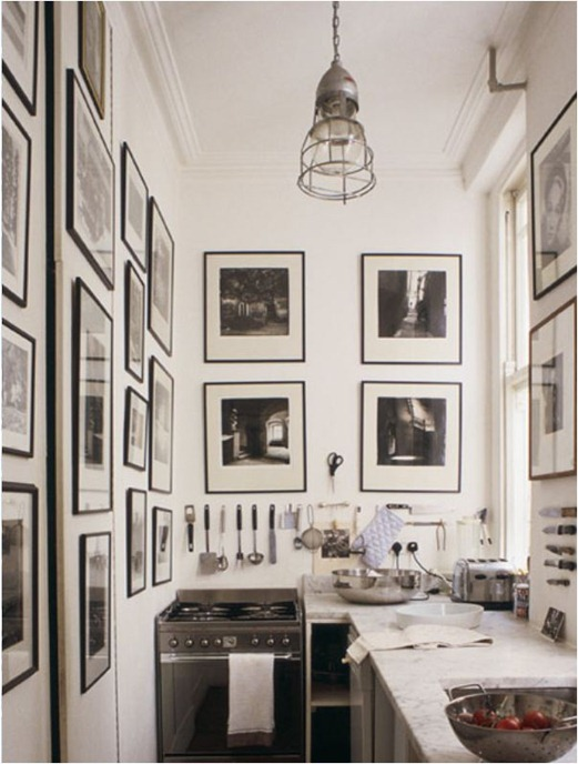black and white photography in kitchen