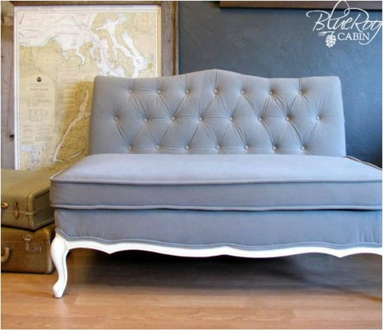 vintage sofa reupholstery blue roof cabin