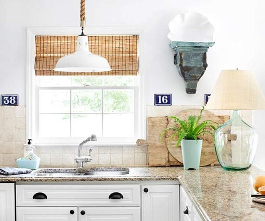 woven shade in kitchen bhg
