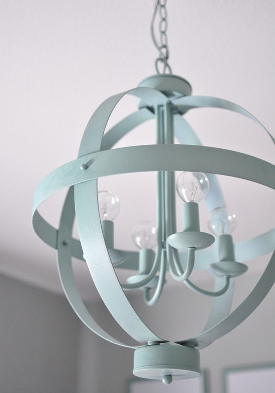 blue orb chandelier