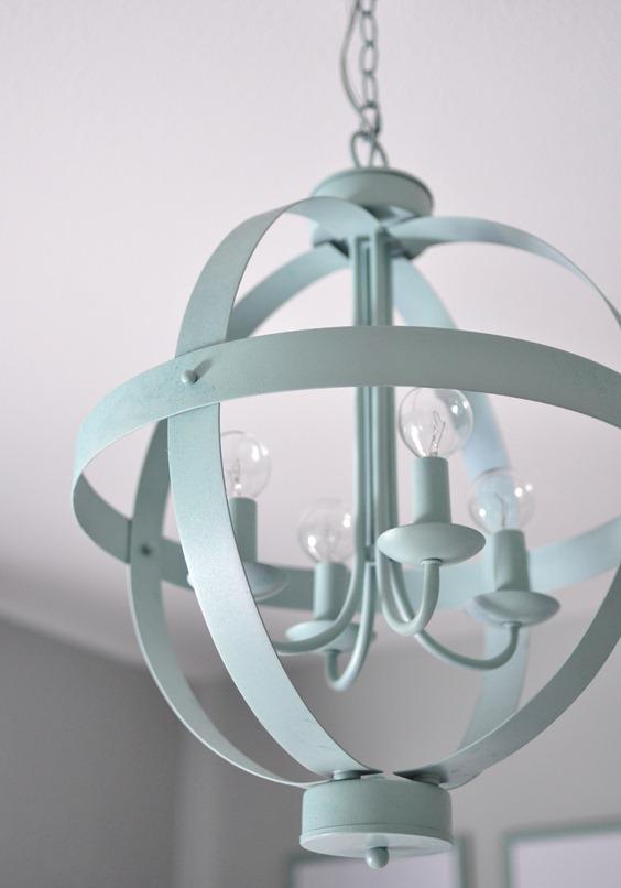 blue orb chandelier