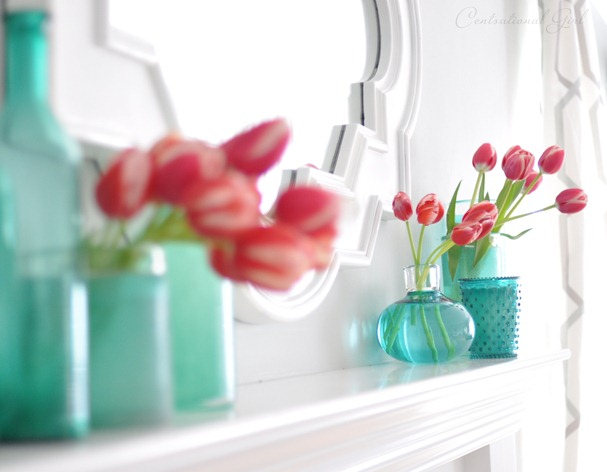 tulips on mantel