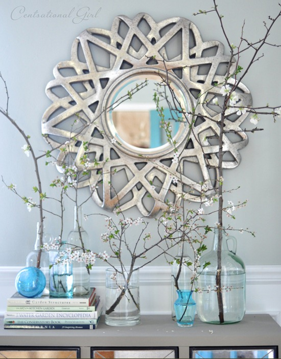 vases of blooming branches