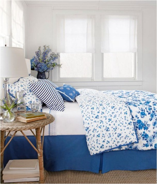 blue and white pattern mix