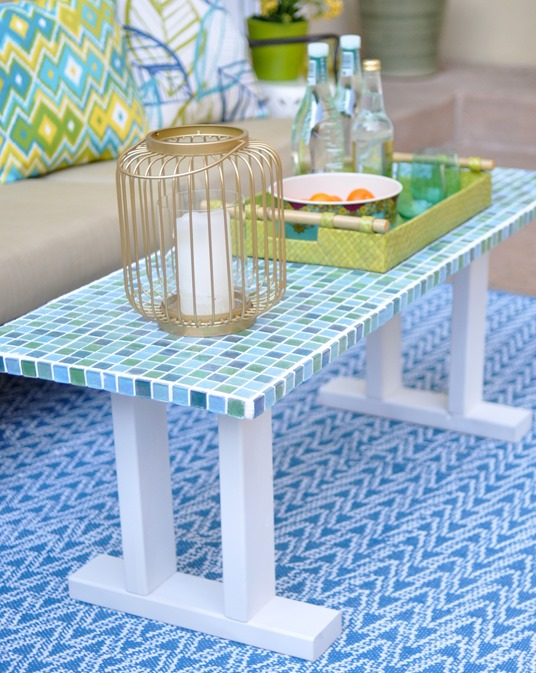 Mosaic Tile Table Bench. Mosaic Tile Outdoor Table .