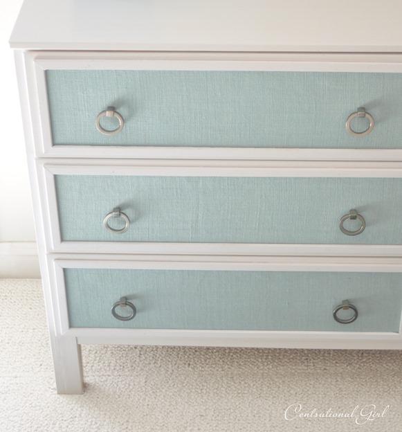 blue burlap panels on dresser