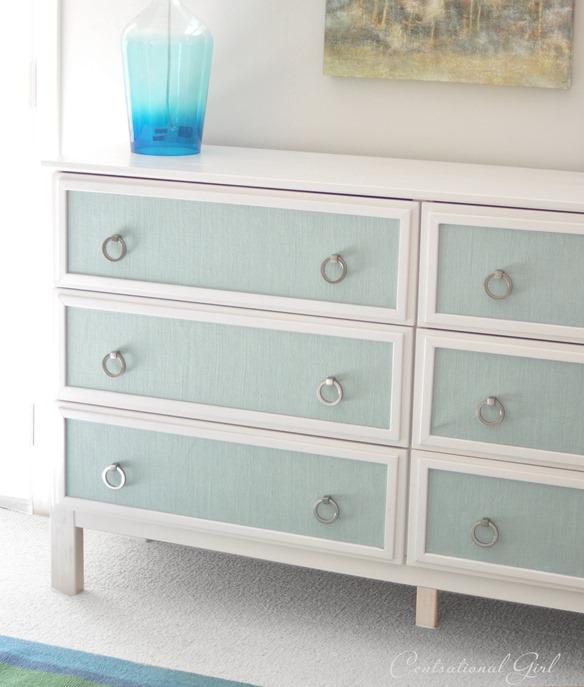 burlap panels on dresser