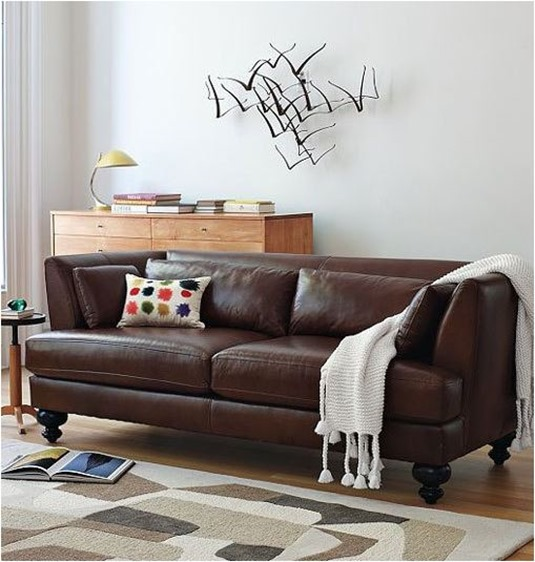 Elegant Neutral Living Room With Brown Leather Sofa