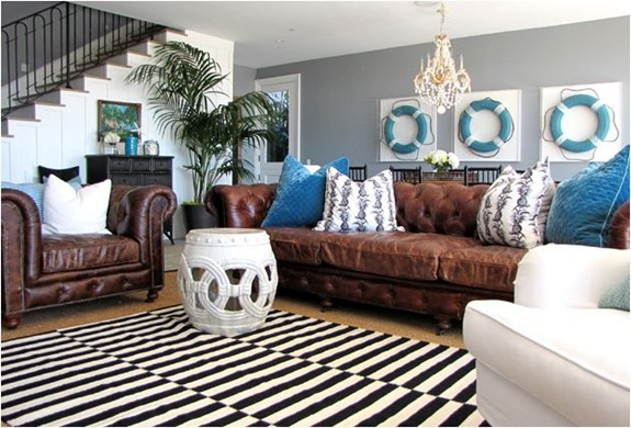 leather sofas in family room