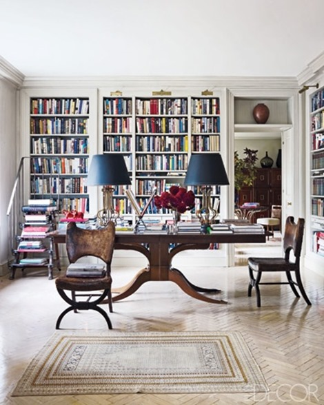 lynn nesbit library elle decor