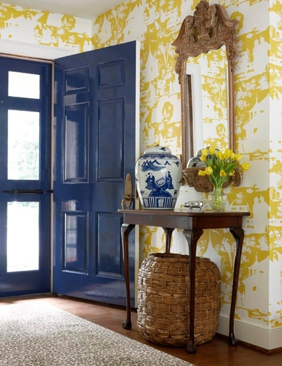yellow wallpaper blue door
