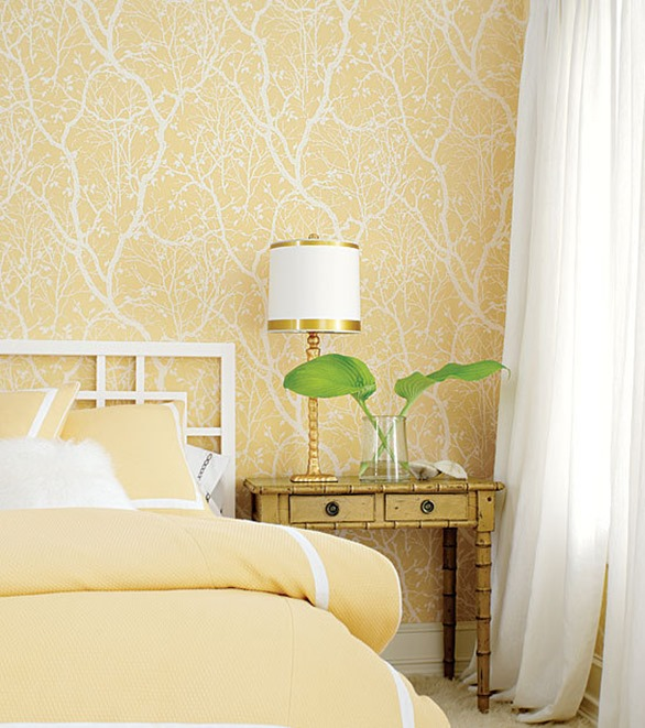 yellow wallpaper in bedroom