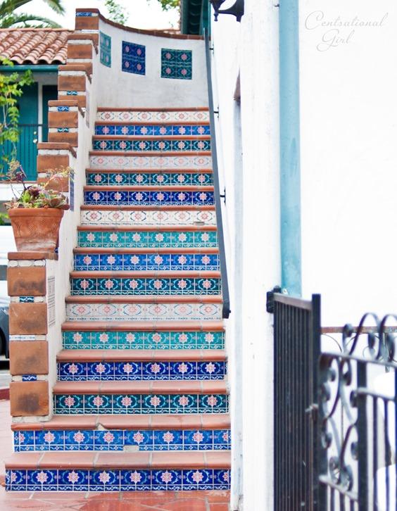 blue tiled staircase cg