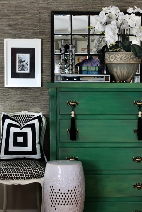 green painted dresser hunted interior