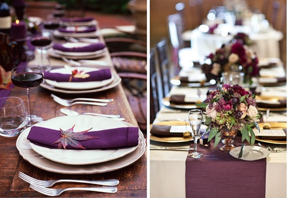 plum and gold table settings