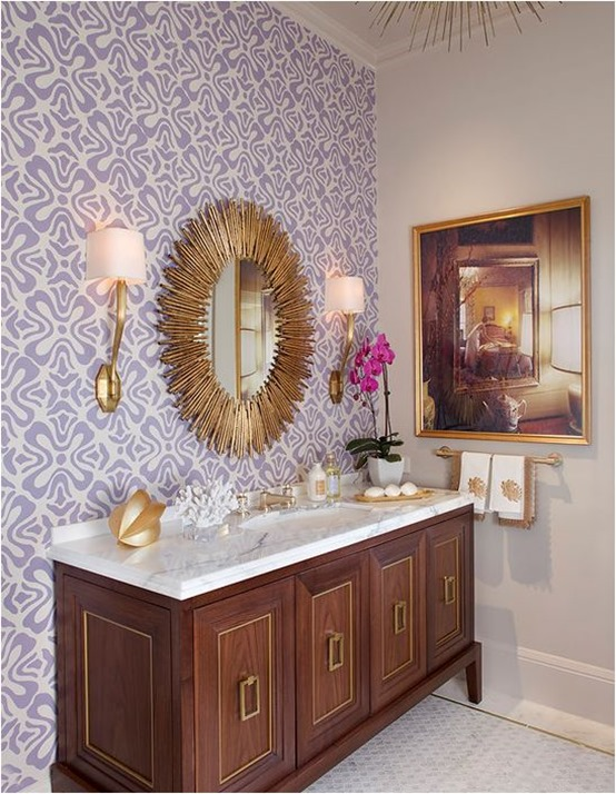 purple wallpaper in bathroom