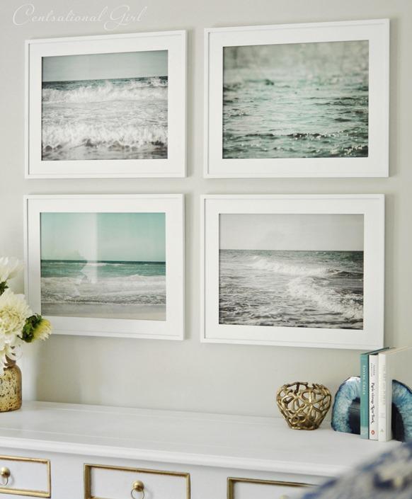 set of framed beach prints