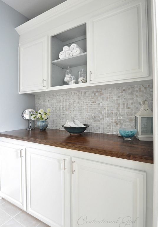 white painted bathroom cabinets