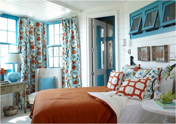 blue and orange bedroom tracery interiors