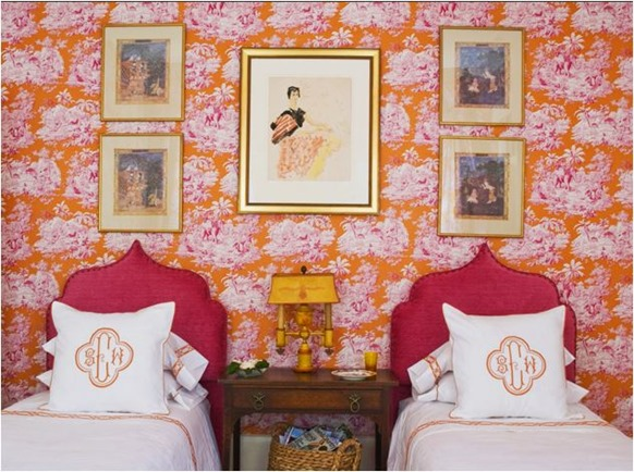 orange and pink wallpaper mmrinteriors