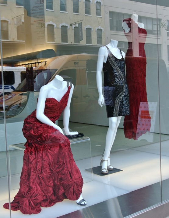 red gowns nyc window shopping